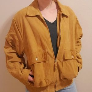 Saks fifth Avenue tan leather suede bomber jacket
